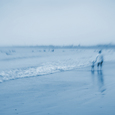浜辺の親子